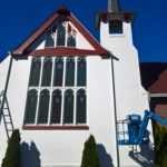 Image of an exterior commercial painting on a church in Everett, Washington.