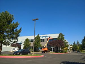 Image of a exterior commercial painting project on a warehouse in Mukilteo, Washington